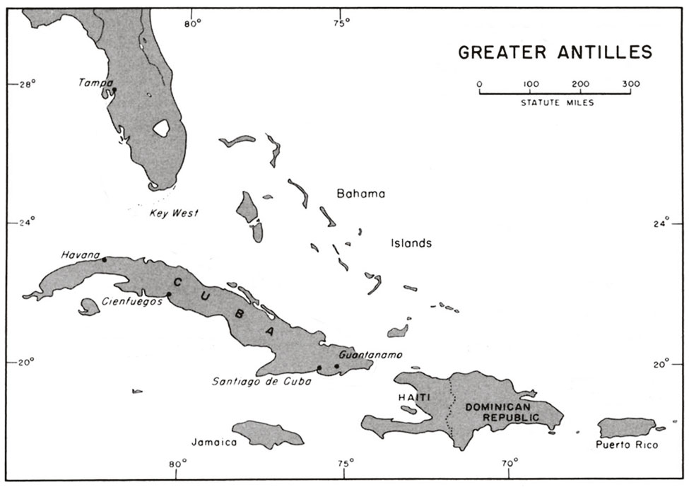 Blank Map Of The Caribbean Islands And Central America